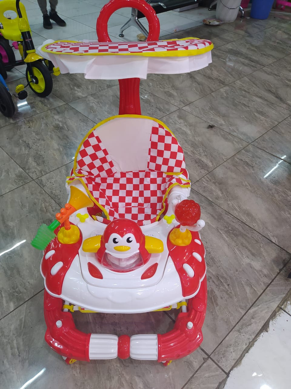 Baby walker with rocker, umbrella, push handle and lights{red}