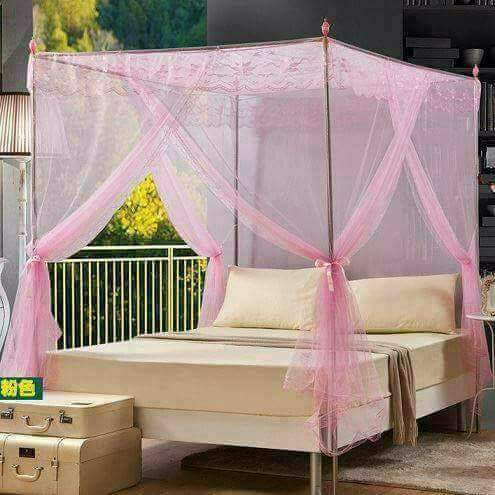 Straight Mosquito Net with metallic stands 4*6-Pink