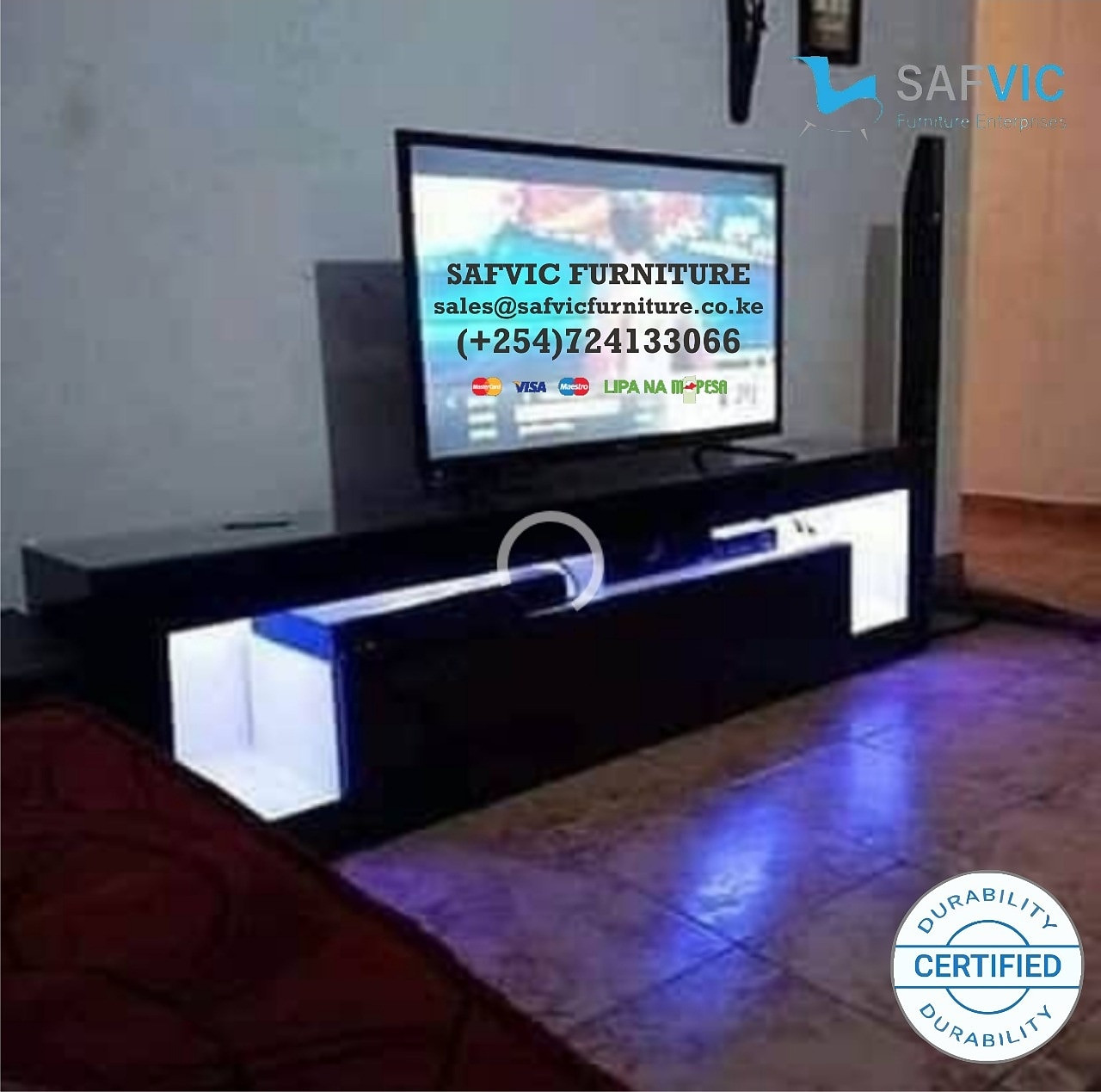 Modern Black TV Stand with LED Lights, High Gloss TV Stand for 65 Inch TV LED TV Stand with Storage and 2 Drawers Living Room Furniture(Black)