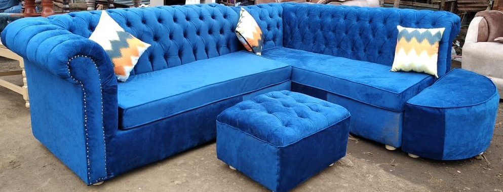 Chester L shape  sofa set 5 seater with one puff and 3 cormforters