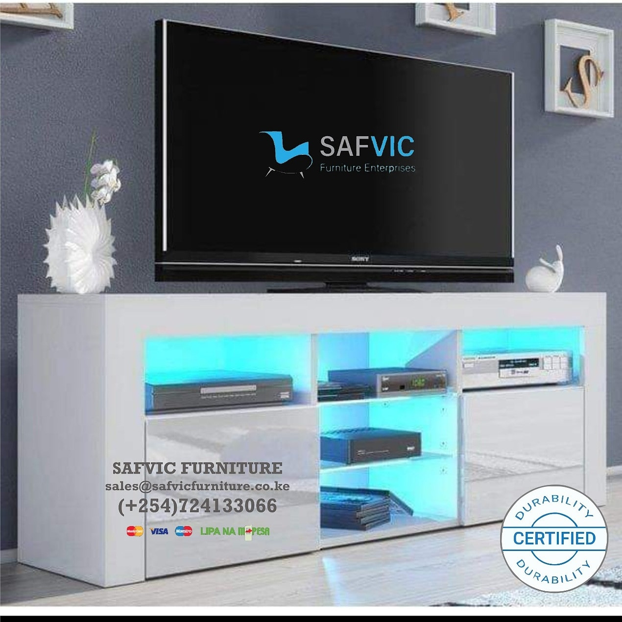 TV Stand Unit Cabinet with LED Shelves 2 Drawer Console Furniture White