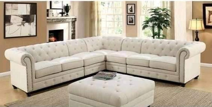 L-  sofa set 7 seater  with a puff