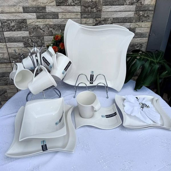 36 Pc white Dinner Sets -The set contains 6 large plates, 6medium plates, 6 side plates,6 bowls and 6 cups and 6 pcs saucers