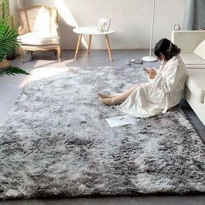 Fluffy Living room and Bedroom Carpet 7x10-grey